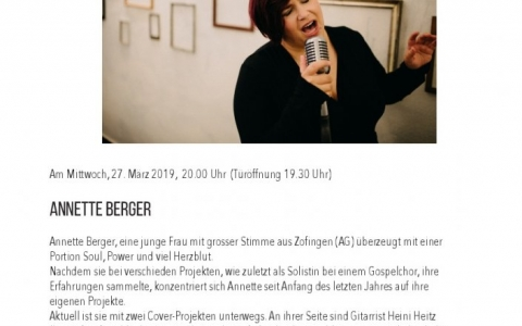 Annette Berger - Stefs Kulturbistro Ostermundigen