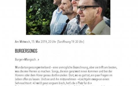 Burgersongs - Stefs Kulturbistro Ostermundigen